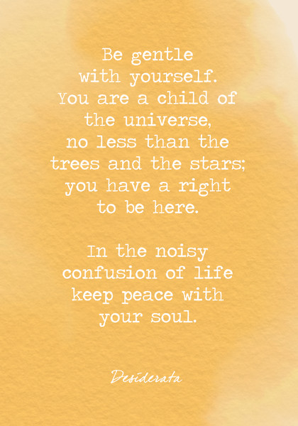 Be gentle with yourself.You are a child of the universe,no less than the trees and the stars;you have a right to be here. In the noisy confusion of life keep peace with your soul.