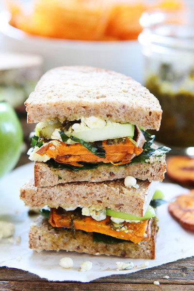 Roasted Sweet Potato Sandwich With Apples, Pesto, Kale And Blue Cheese