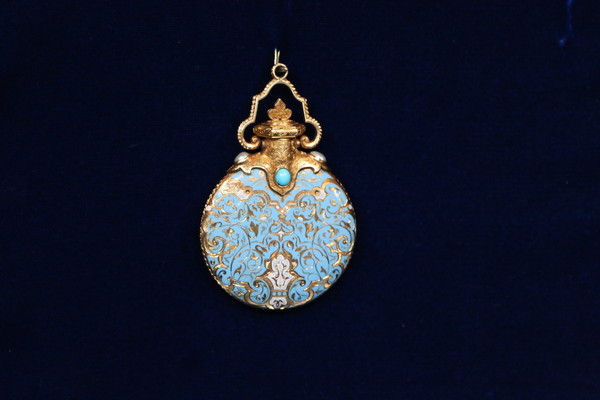 Perfume Flask Pendant with Brooch, ca. 1850