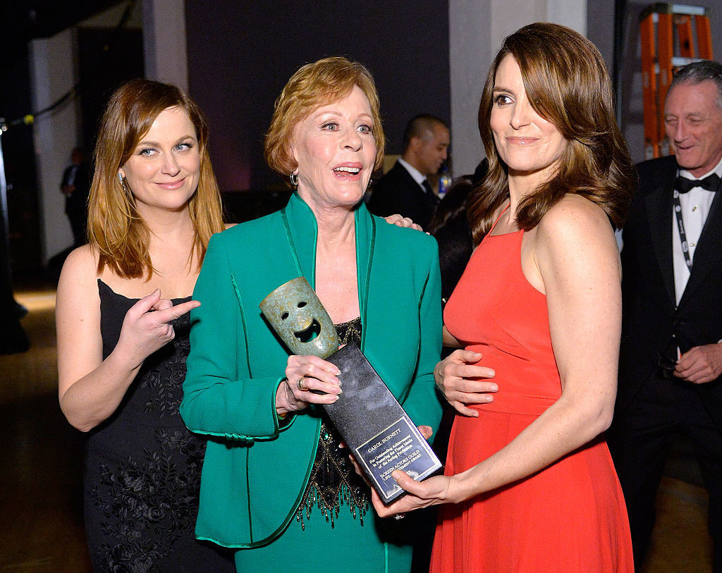 From left to right, Amy Poehler, Carol Burnett, and Tina Fey at the Annual Screen Actors Guild Awards in 2016 in Las Angeles.