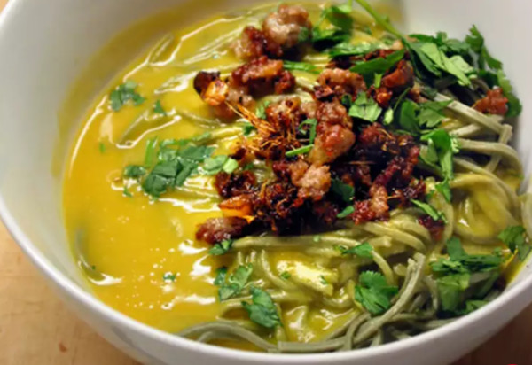 Trader Joe's Butternut Squash Soup With Ginger, Soba Noodles, And Fried Pork Crumbles